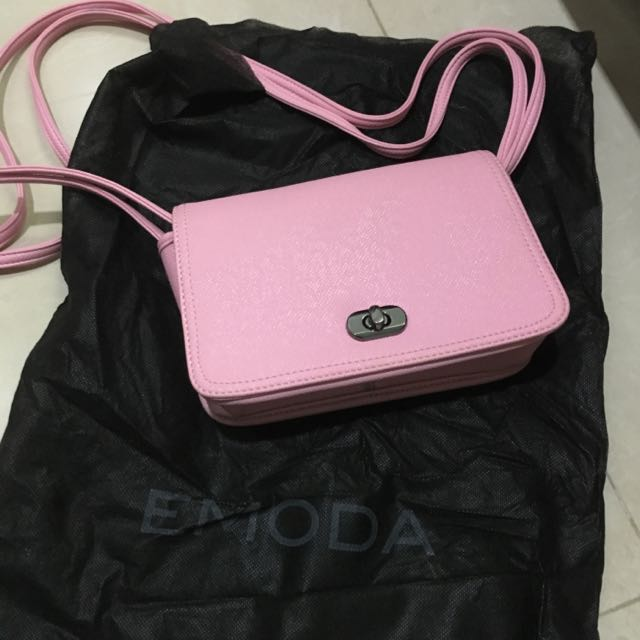 日本專櫃品牌emoda粉紅隨身小包