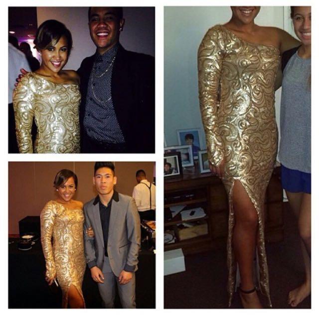 Gold One Shoulder Ball Dress
