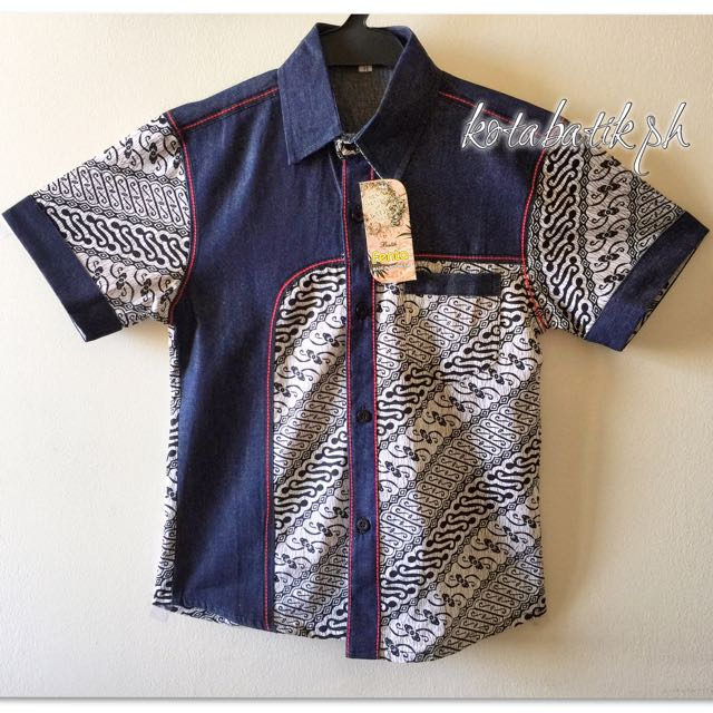 Kids Denim Batik Polo
