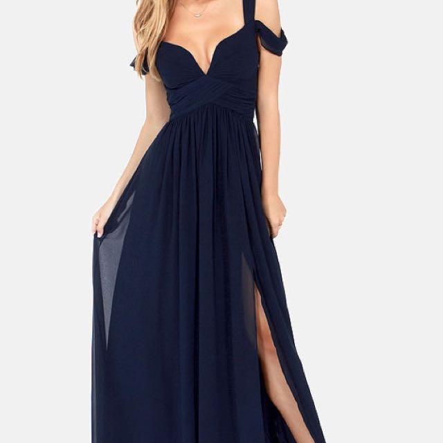 Lulus Bariano Ocean Of Elegance Navy Blue Prom Dress
