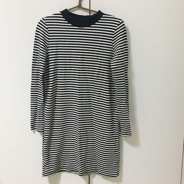 Meierq 小高領條紋長版洋裝 T-shirt