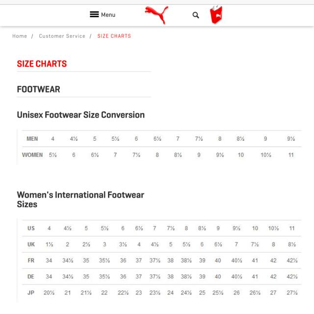Puma Sneakers Size Chart