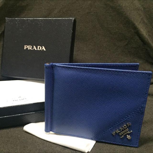 e416c3c32335 RESERVED] Prada Men's Bifold Wallet with money clip. In Cobalt blue ...
