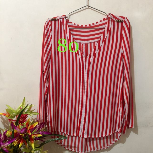 red stripes top