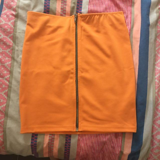 SASS Orange Zip Skirt