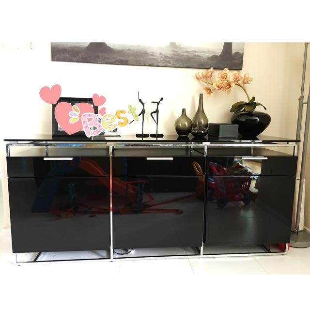 SoHOME 3 Door Drawer Black Designer Dining Living Cabinet Cupboard