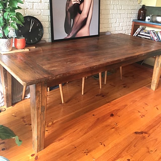 Solid Reclaimed Elm Timber Table