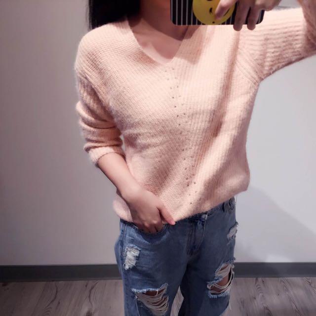 V領粉橘短版針織