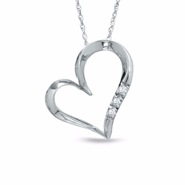 White gold heart-shaped necklace
