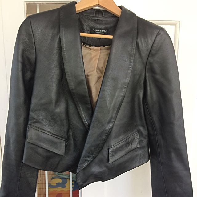 White Suede Black Leather Jacket Size 10