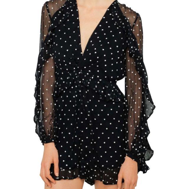 Zimmermann adorn midnight dot silk ruffle playsuit size 6 XS NWOT RRP$695