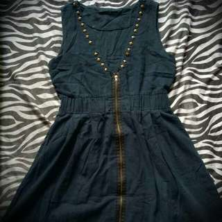 Studded Zipper Down Dress