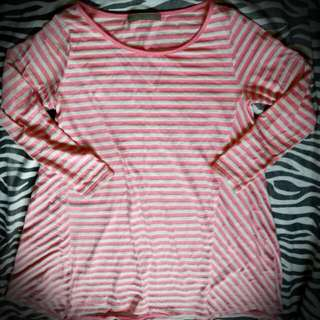 White And Pink Stripes Top