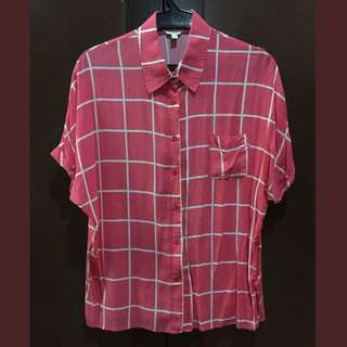 BNY Jeans Pink Plaid Batwing Top