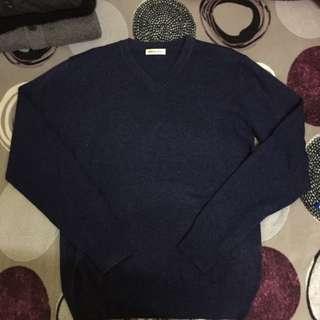 V領素色 針織毛衣