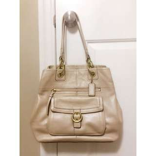 Real Coach leather tote (nude)