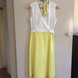 Vintage Dress Yellow And White With Scarfs. Size AU 10-12