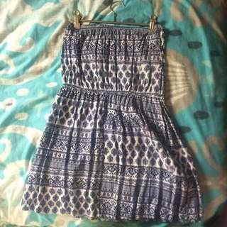 Blue Strapless Short Dress