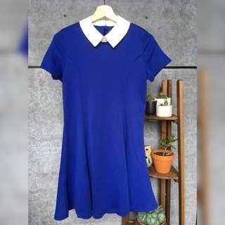 Royal Blue Princess Line Dress With Satan Collar