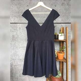 Navy Deep V-Neck Princess Line Dress