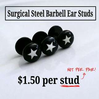 White Star 316L Surgical Steel Barbell Ear Studs