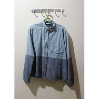 Zara Two-Tone Denim Shirt