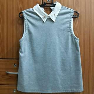 Sale! Plains and Prints Gray Sleeveless Top