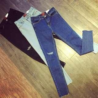 INSTOCK BNIP Dark Blue Ripped Denim Slim High Waist Jeans/pants