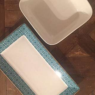 Oven-safe Porcelain Serving Platter And Bowl Set