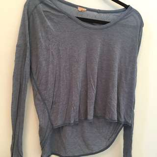 long sleeve blue slightly cropped