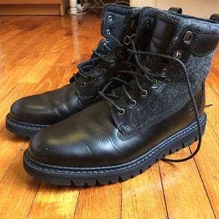 Timberland Boots Black Harris Tweed *Reduced Price*