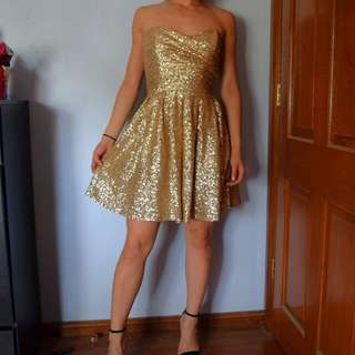 Asos Gold Sequins Strapless Dress AU 6