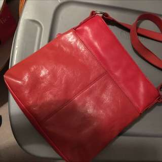 Coral Italian Leather Crossbody