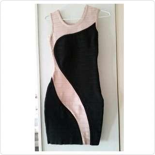 性感黑粉色緊身洋裝