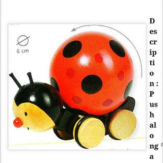 Wooden Toy : Push And Roll : Ladybird Fillie