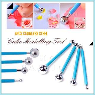 🎂 4PCS DOUBLE SIDED STAINLESS STEEL BALL FONDANT CAKE MODELLING TOOL • CLAY MODELLING TOOL