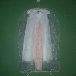 Christening Dress White And Peach Ribbon