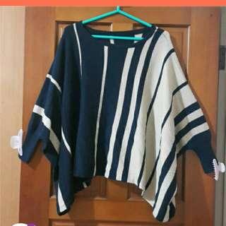 條紋飛鼠針織毛衣