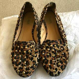 Faux Suede Leopard Print Studded Loafers