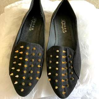 """NEW """"Coninef"""" Suede Loafers w/ Gold Studs"""