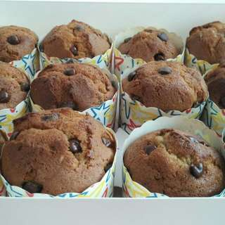 Freshly Baked Delicious Homemade Halal Moist Banana Cupcakes With Hershey Chocolate Chips (Big Size Of Height 5.4cm And Diameter 6cm)