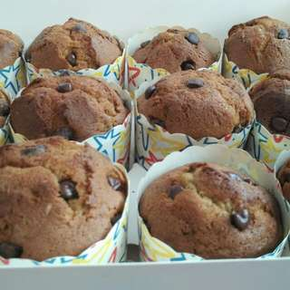Freshly Baked Delicious Halal Homemade Moist Banana Cupcakes With Hershey Chocolate Chips (Big Size Of Height 5.4cm And Diameter Of 6cm)