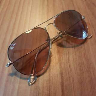 Original Ray-Ban Aviators: Pink gradient lenses with gold frame & transparent tips