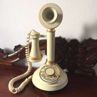 1973 Ivory Gold Candlestick Rotary Dial Phone