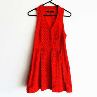 Sportsgirl - Size 8 - Firetruck Red Eyelet (Thick Lace) Dress with Racerback and Button Down