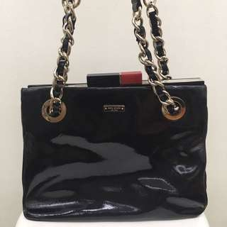 Kate Spade Patent Leather Bag With Chain Strap