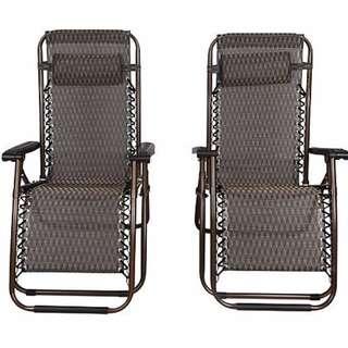 2 x Bronze Lounge Chairs - Patio Outdoor Garden Yard Beach Caravan
