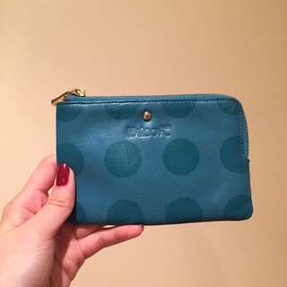 Wilson Leather Polka Dot Pouch Teal