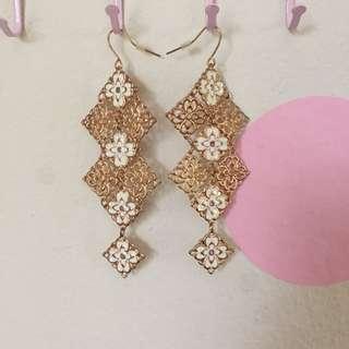 Colette Gold Floral Lace Chandelier Earrings