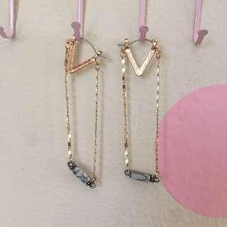 Lovisa Triangle Drop Earring w/ Faux Marble Detail